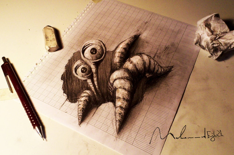 3d-monster-pencil-drawing-on-paper
