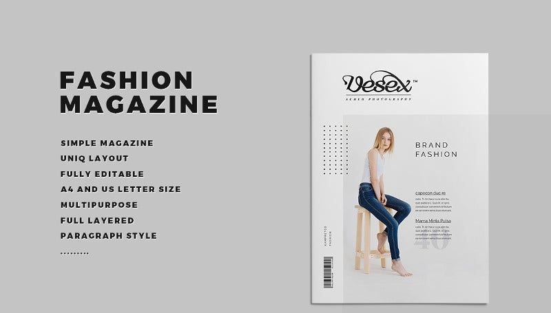 printable modern fashion magazine template