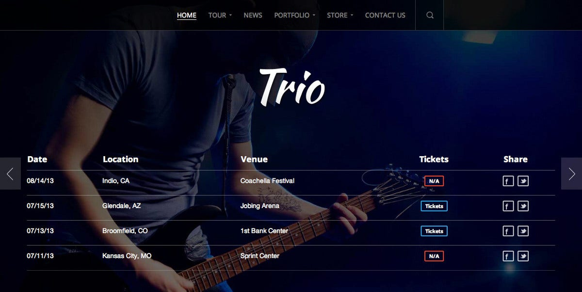 band artist wordpress website theme 59