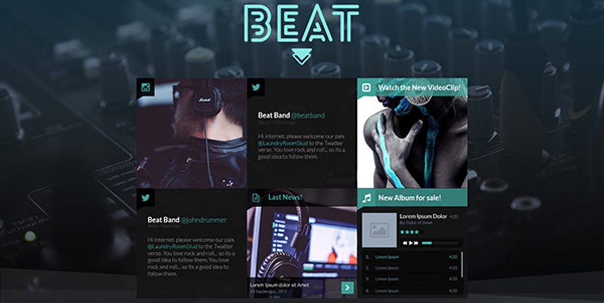 music player band joomla website template 48