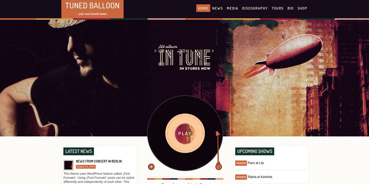 retro music player band wordpress theme 60