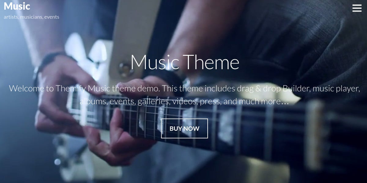 music events band wordpress website theme
