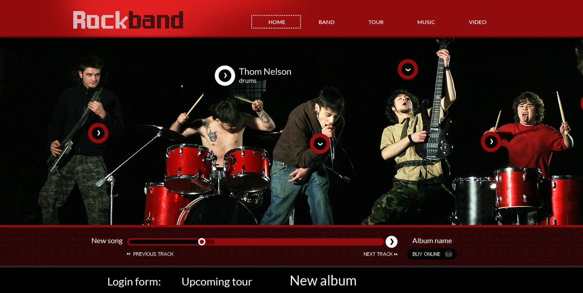 music album band flash cms website template 99