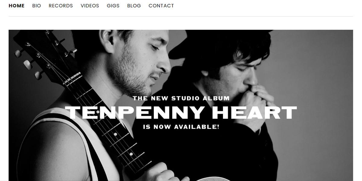 Modern Minimal Music Band Website Theme