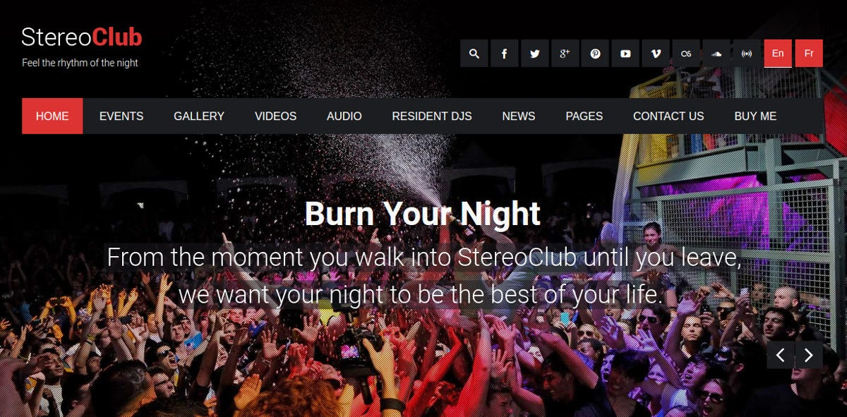 night club band wordpress website theme