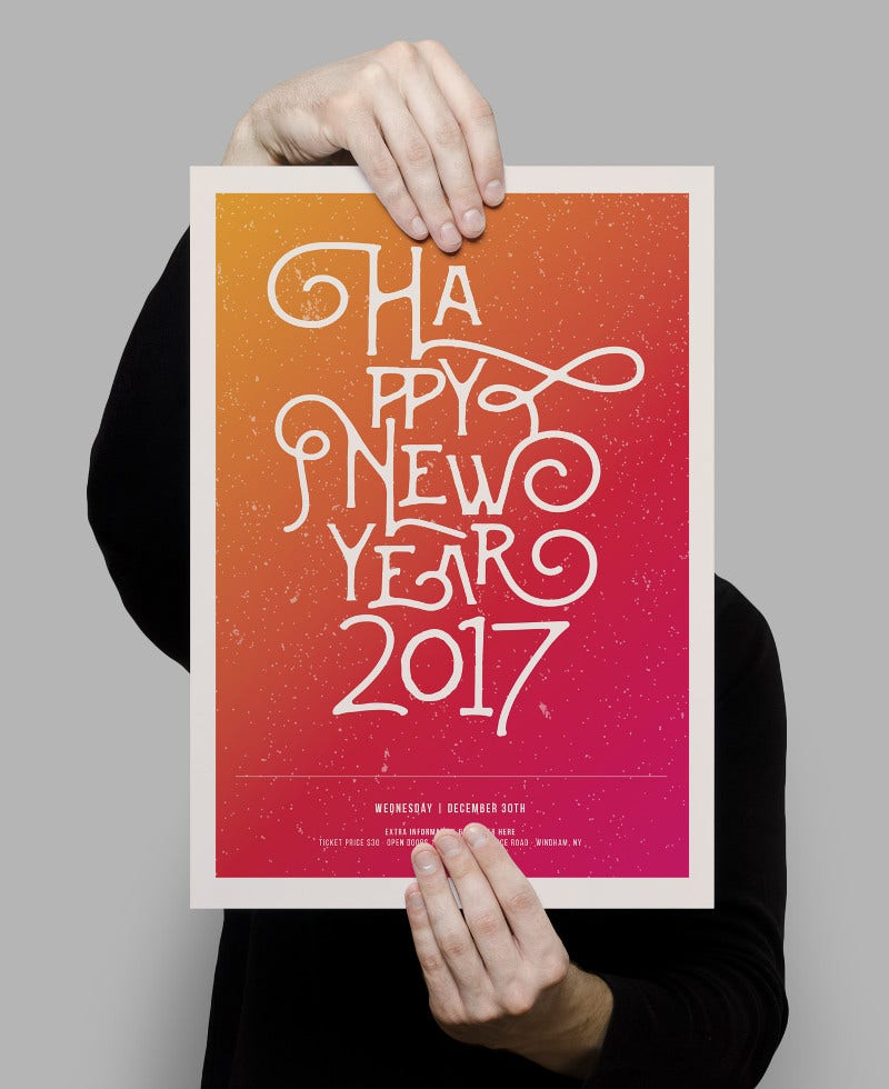 happy new year 2017 poster with calligraphy text