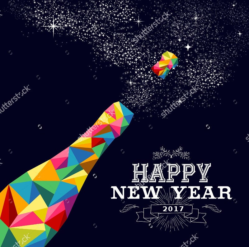 colorful triangle new year poster design
