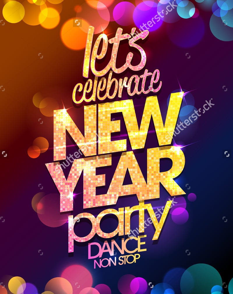 Poster design 2017 - Multicolored New Year Party Poster Design