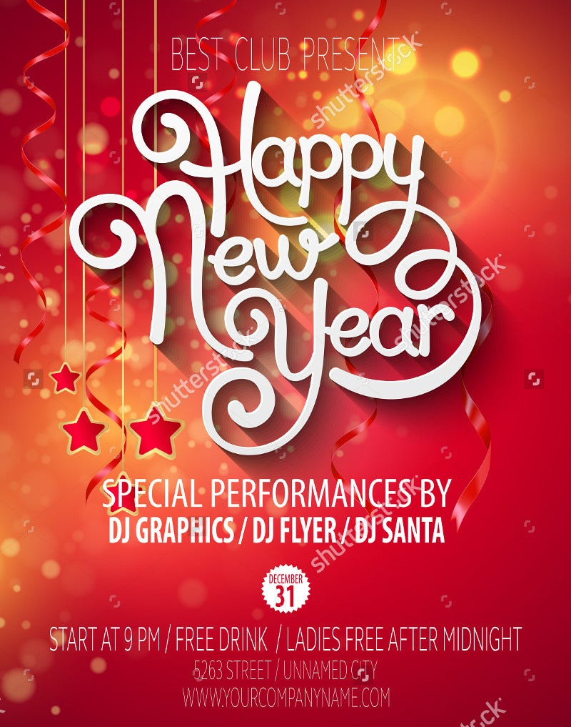 Printable New Yearu0027s Party Vector Poster  Fun Poster Templates