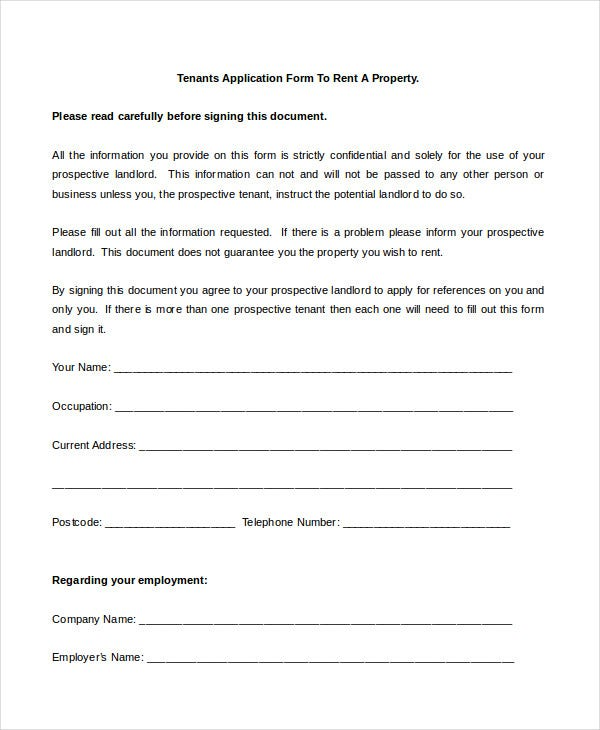 Rental Application Form   Free Sample Example Format  Free