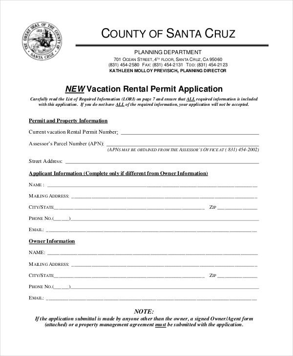 new vacation rental application form