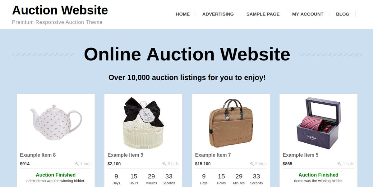 Premium Online Auction WP Theme