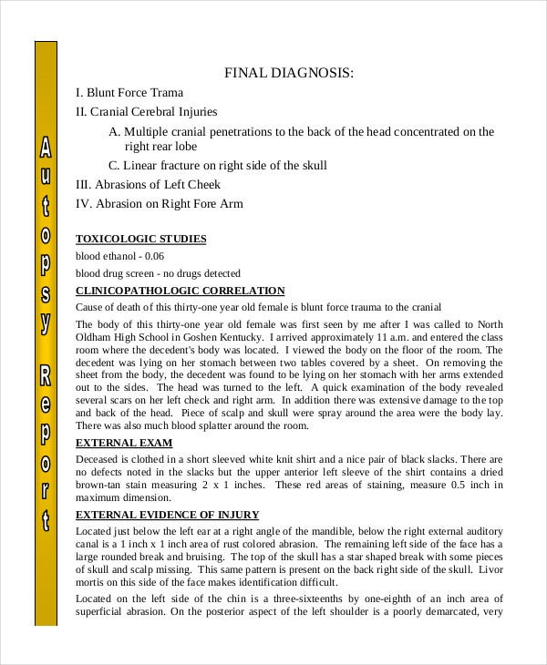 Simple Autopsy Report Template  Homicide Report Template