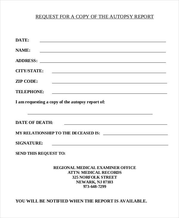 Report Request Template Sample Police Report 7 Documents