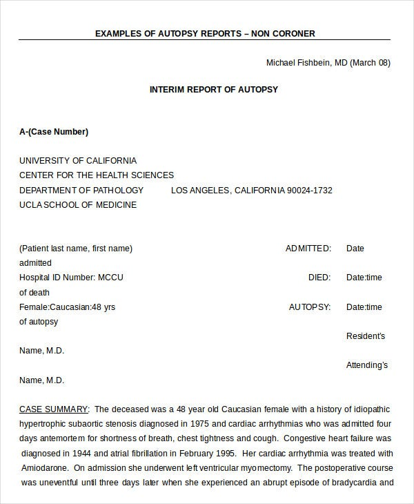Autopsy Report Template   Free Word Pdf Documents Download  Free