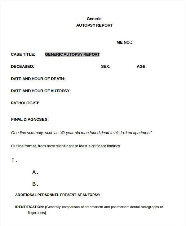 Autopsy Report Template - 5 Free Word, PDF Documents Download ...
