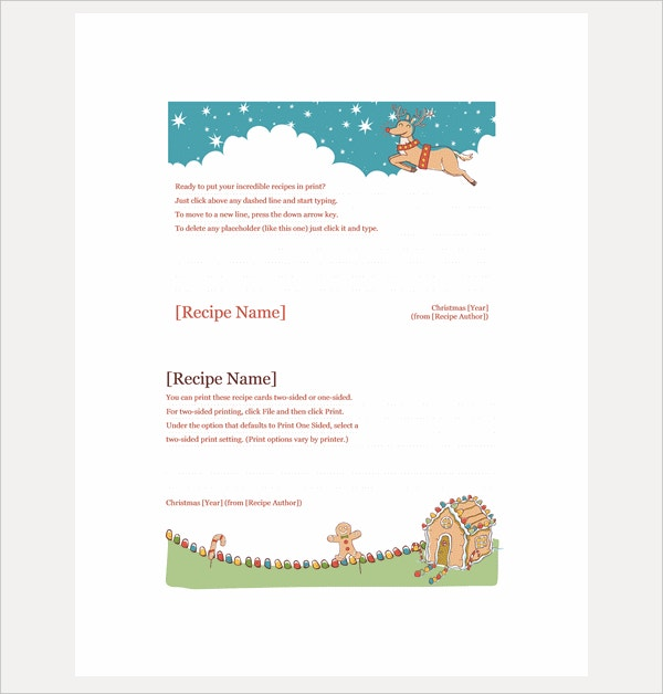 Christmas Recipe Card Template  Free Recipe Card Templates For Word