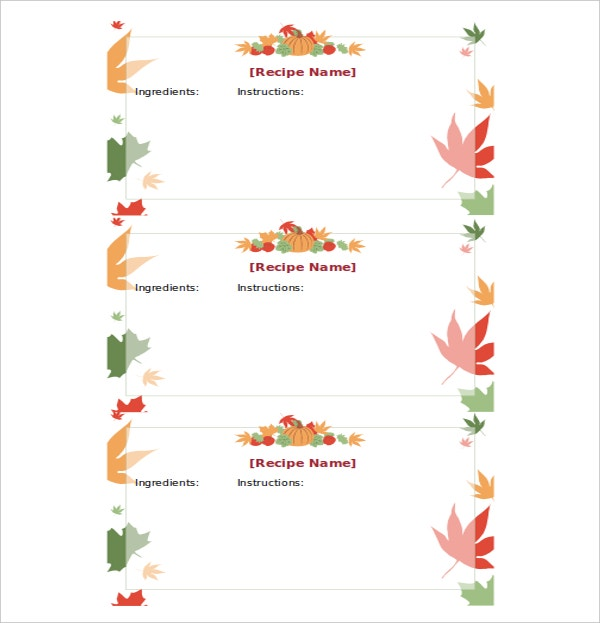 Thanksgiving Recipe Card Template