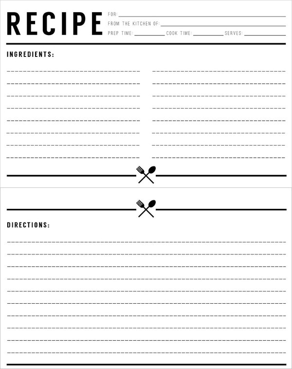 Standard Recipe Card Template