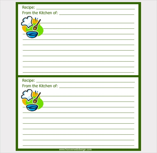 Printable Chef Hat Recipe Card