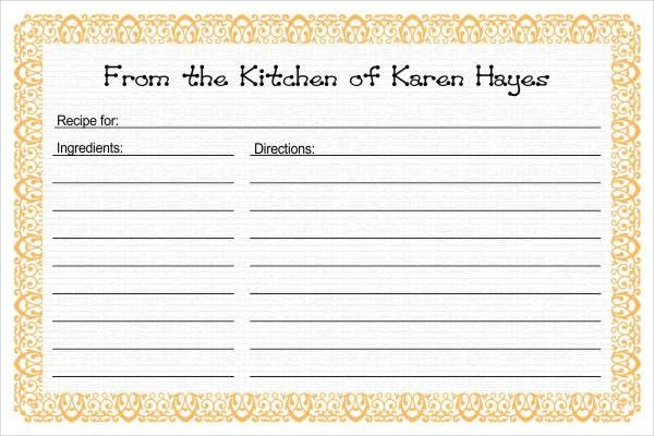 free recipe card template - Free Editable Recipe Card Templates For Microsoft Word