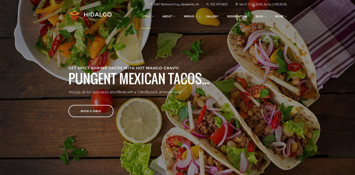 Restaurant WordPress Theme $75