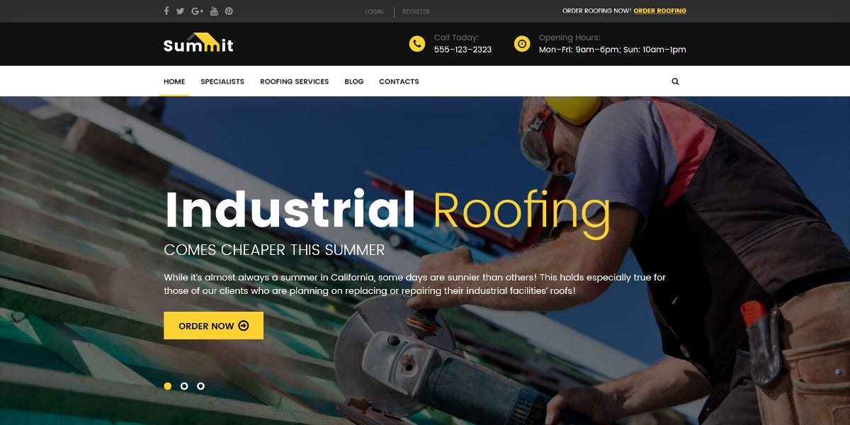 Roofing WordPress Theme $75