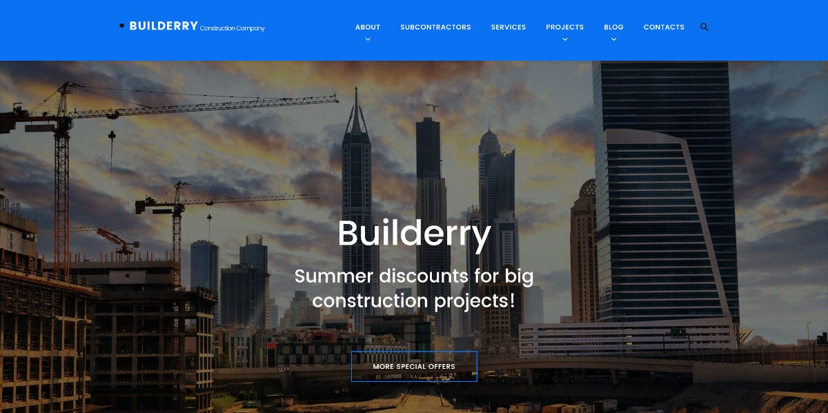 Construction Bootstrap WordPress Theme $75