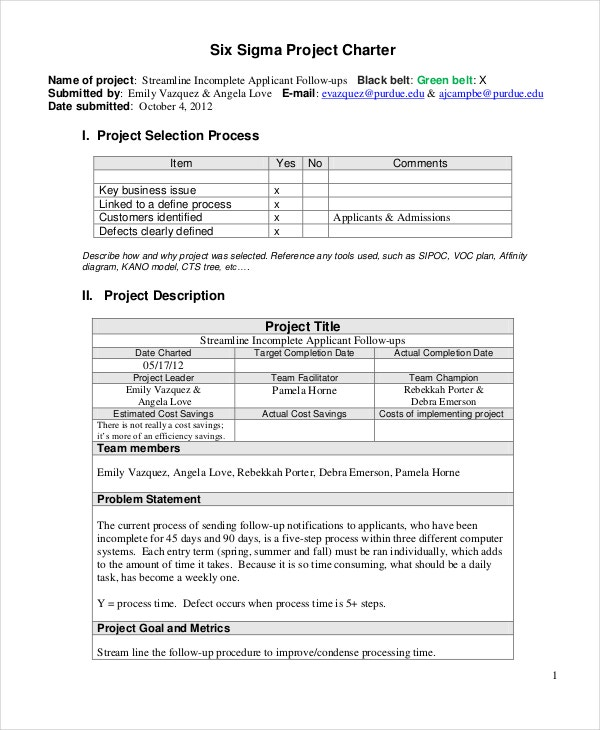 six sigma project charter template
