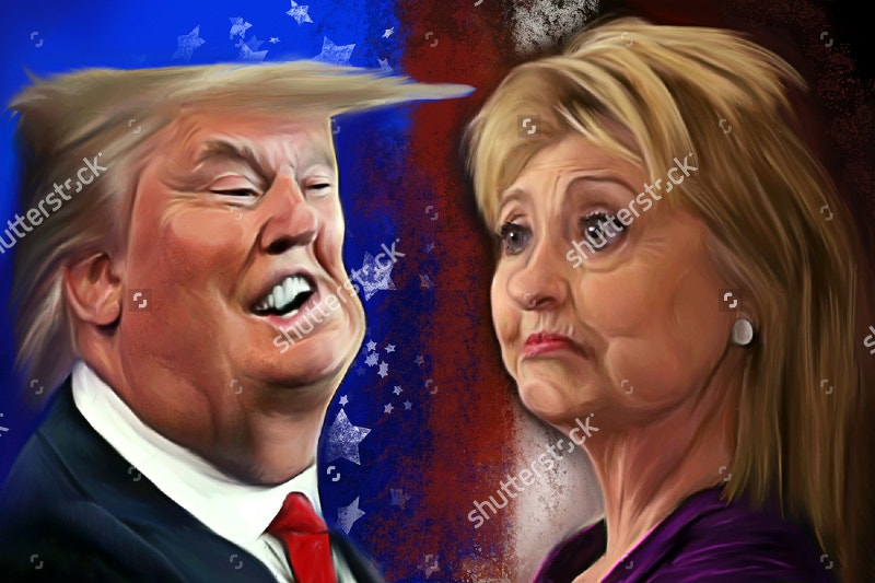 illustration of donald trump hillary clinton