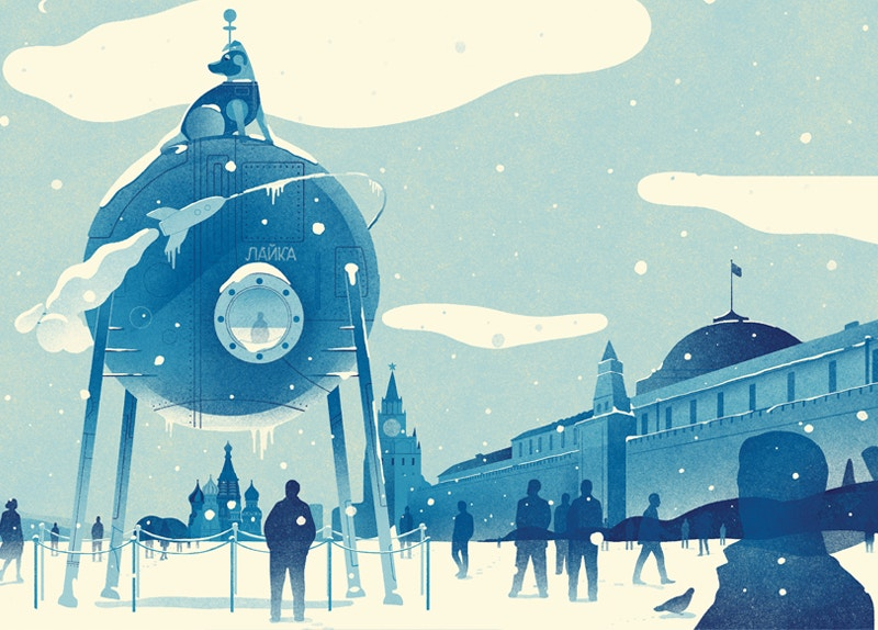 editorial illustration of laika moscow