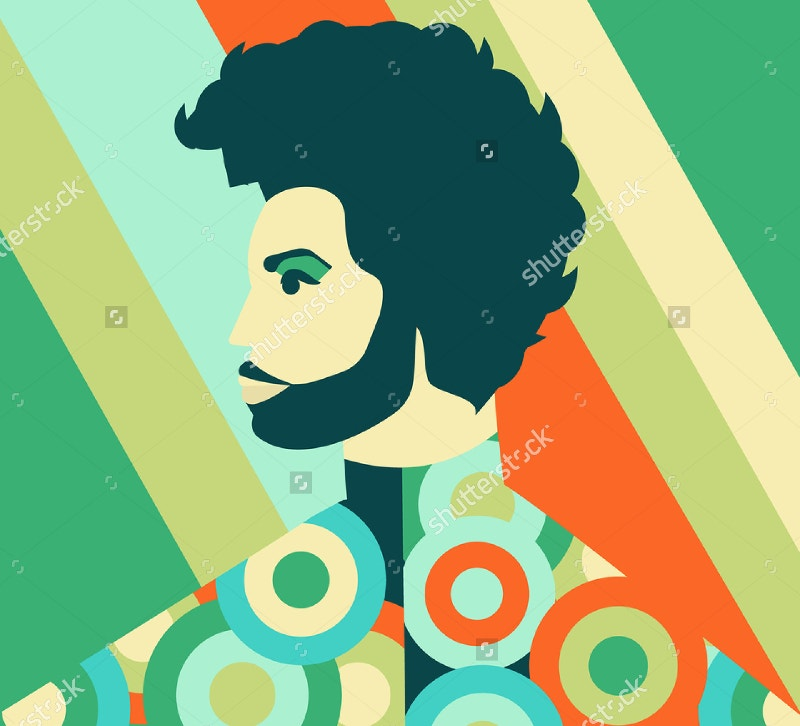 editorial illustration of famous singer prince