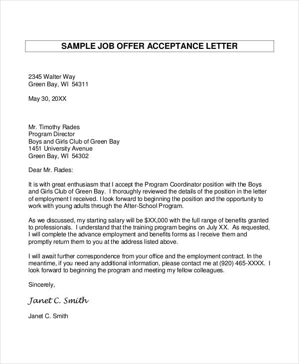 Job Offer Letter 8 Free Sample Example Format – Offer Acceptance Letter