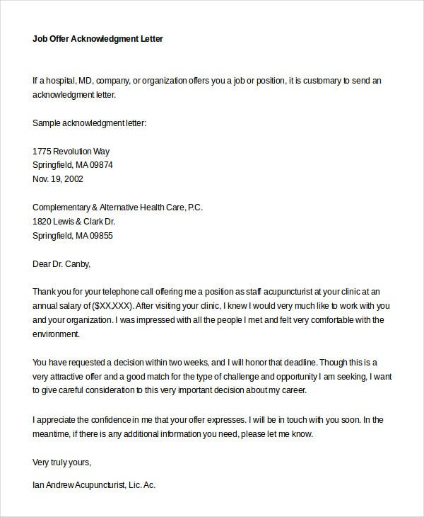 Job offer letter 9 free sample example format free premium job offer acknowledgment letter spiritdancerdesigns Image collections