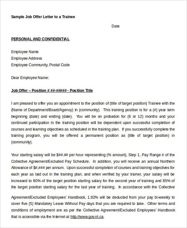 Job Offer Letter   Free Sample Example Format  Free