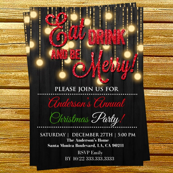 Christmas drinks invitation template