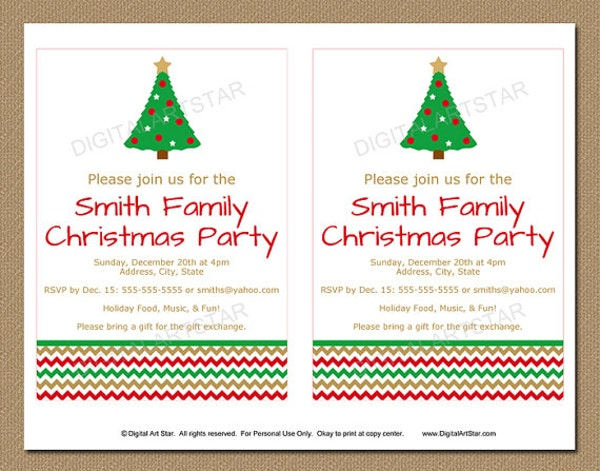 christmas family party invitation template