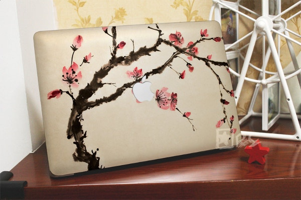 watercolour peach flowers macbook sticker