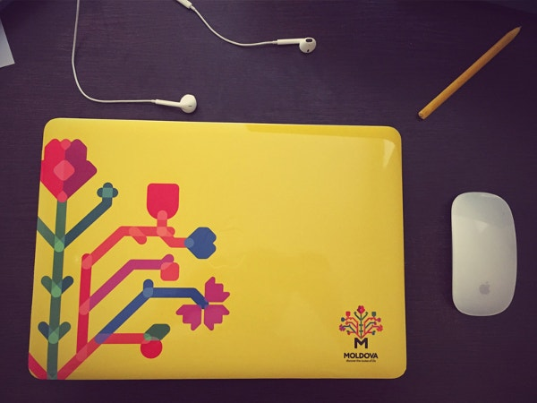 yellow designed macbook sticker