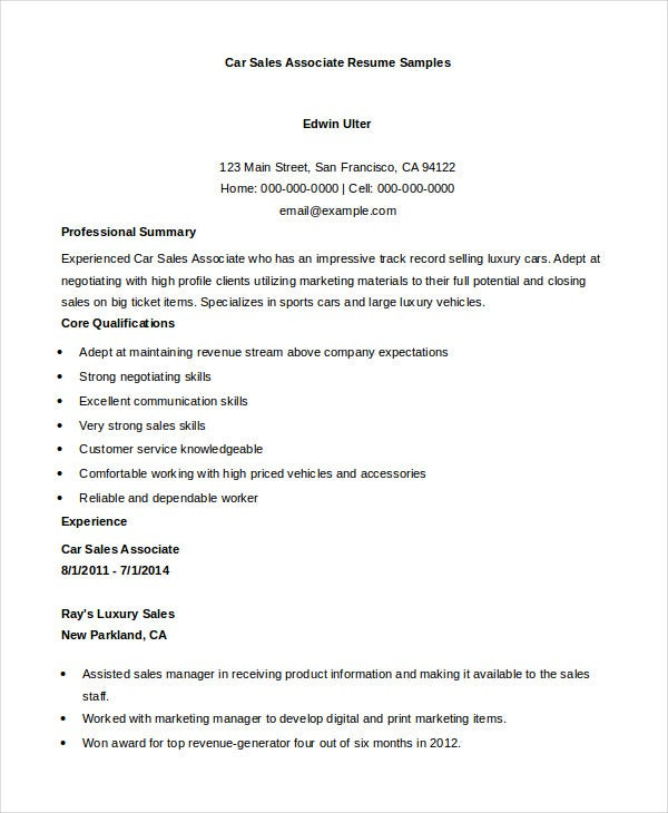 car-sales-associate-resume-samples