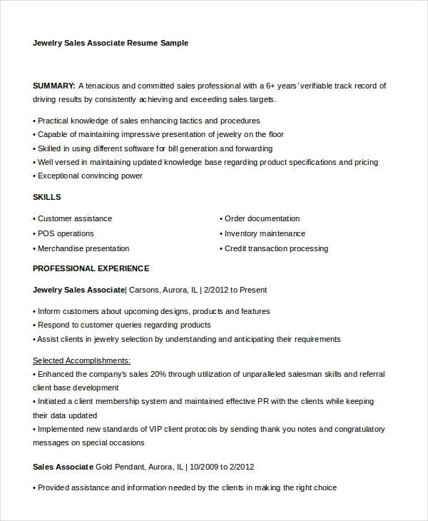 Sales Associate Resume - 7+ Free Sample, Example, Format | Free