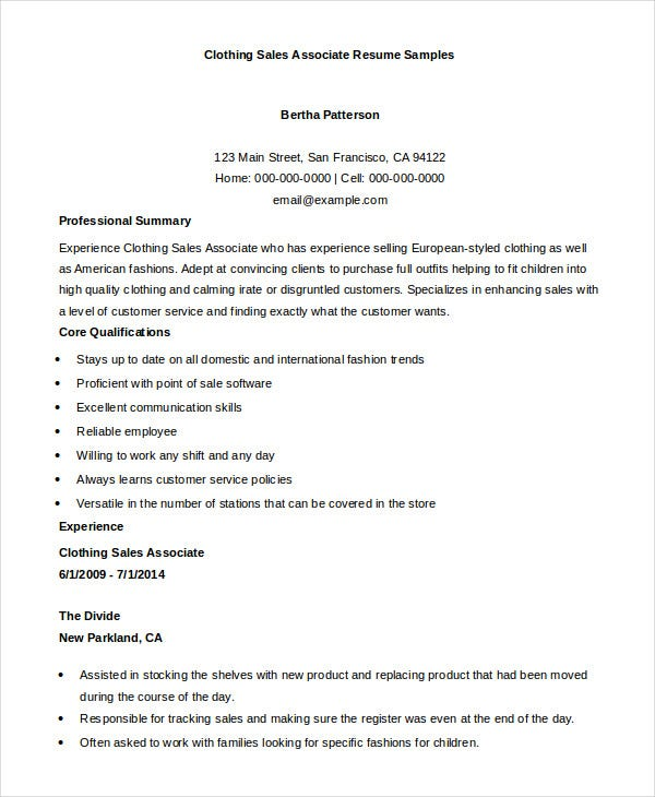 clothing sales associate resume template - Clothing Sales Resume