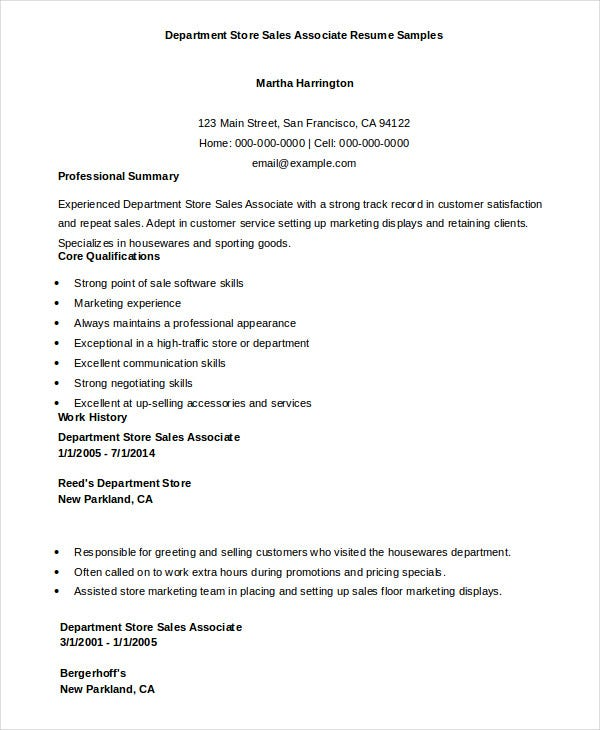 department store sales associate resume sample