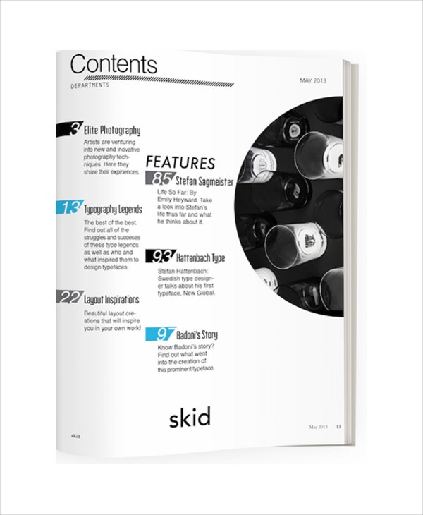simple skid table of contents template