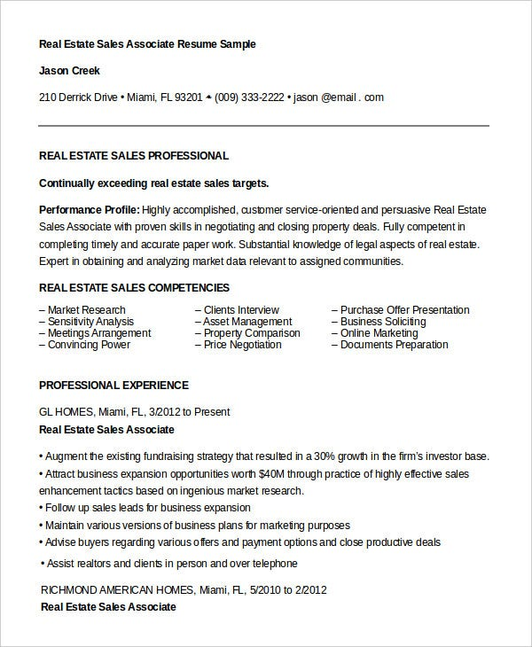 real estate sales associate resume