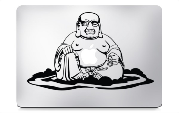 smileing buddah macbook sticker