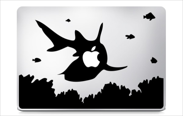 killer shark macbook sticker design