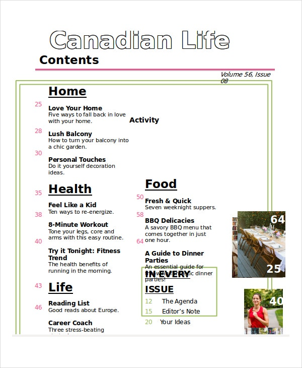 magazine table of contents template