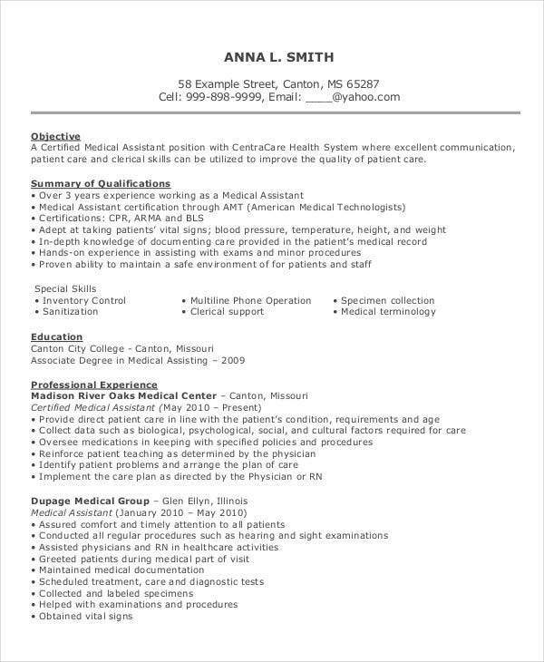 medical assistant resume template - Medical Assistant Resumes Templates