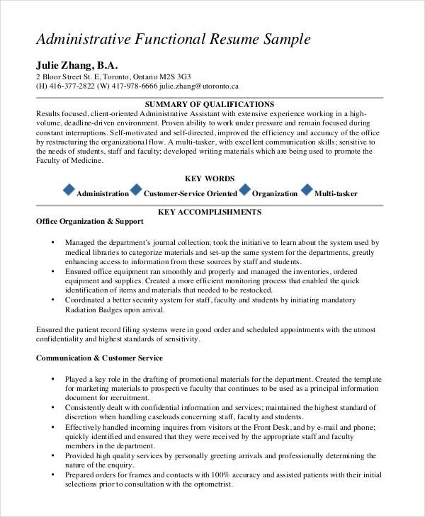 medical office administrative assistant functional resume - Office Assistant Resume Template